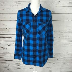 J Crew Small Blue Gingham Button Down Navy EUC